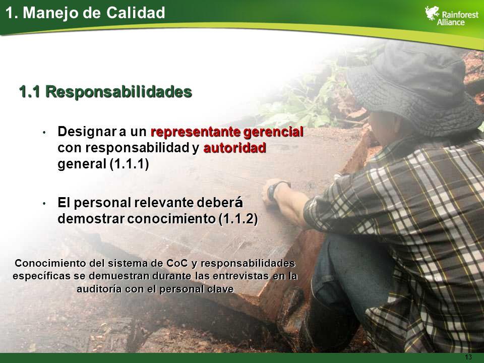 13 1.1 Responsabilidades Designar a un representante gerencial con responsabilidad y autoridad general (1.1.1) Designar a un representante gerencial c