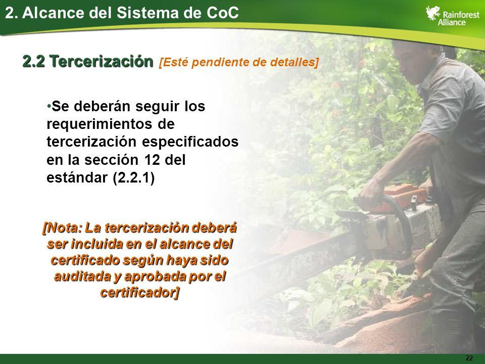 22 2. Alcance del Sistema de CoC 2.2 Tercerización Se deberán seguir los requerimientos de tercerización especificados en la sección 12 del estándar (