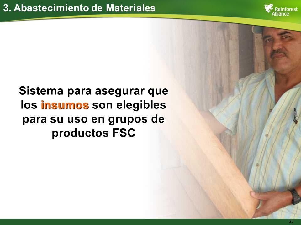 23 3. Abastecimiento de Materiales Sistema para asegurar que los insumos son elegibles para su uso en grupos de productos FSC