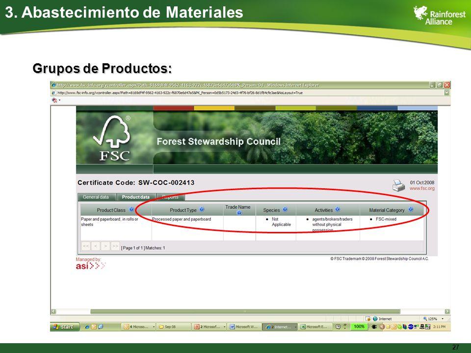 27 Grupos de Productos: 3. Abastecimiento de Materiales