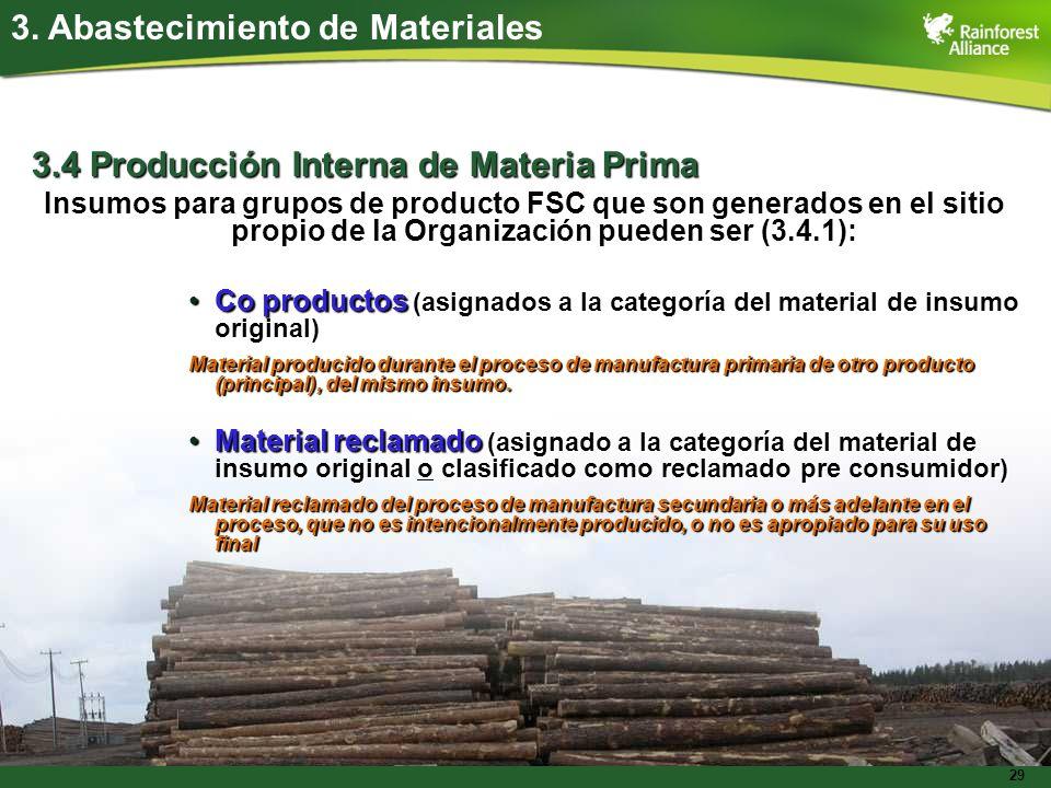 29 3.4 Producción Interna de Materia Prima Insumos para grupos de producto FSC que son generados en el sitio propio de la Organización pueden ser (3.4
