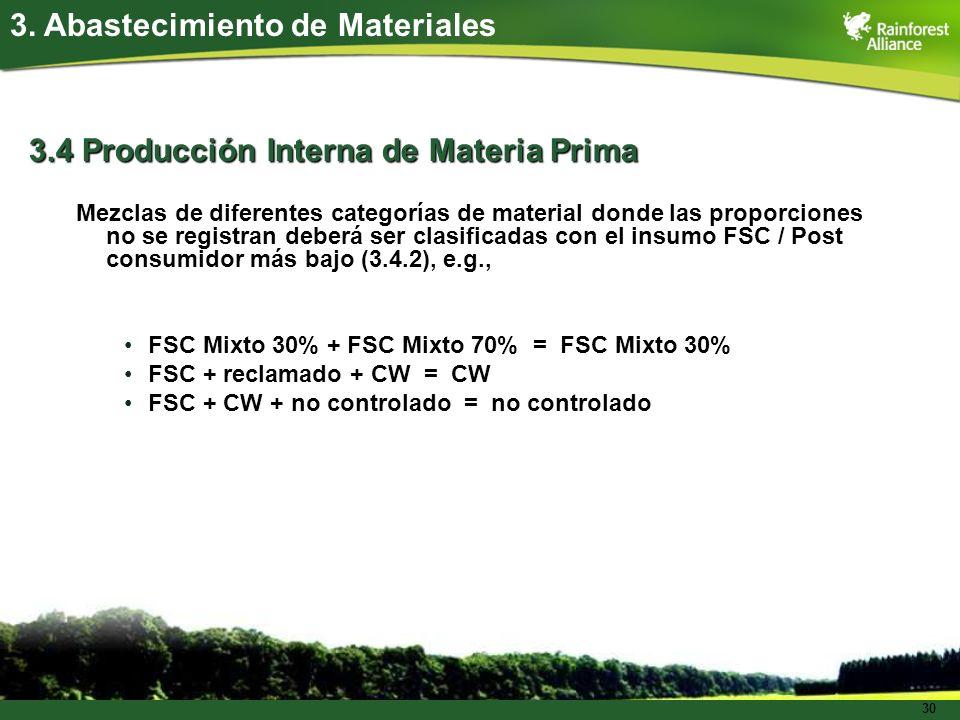 30 3.4 Producción Interna de Materia Prima Mezclas de diferentes categorías de material donde las proporciones no se registran deberá ser clasificadas