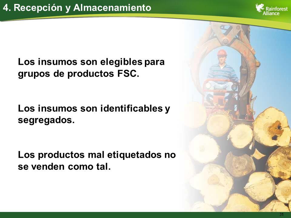 31 4. Recepción y Almacenamiento Los insumos son elegibles para grupos de productos FSC. Los insumos son identificables y segregados. Los productos ma