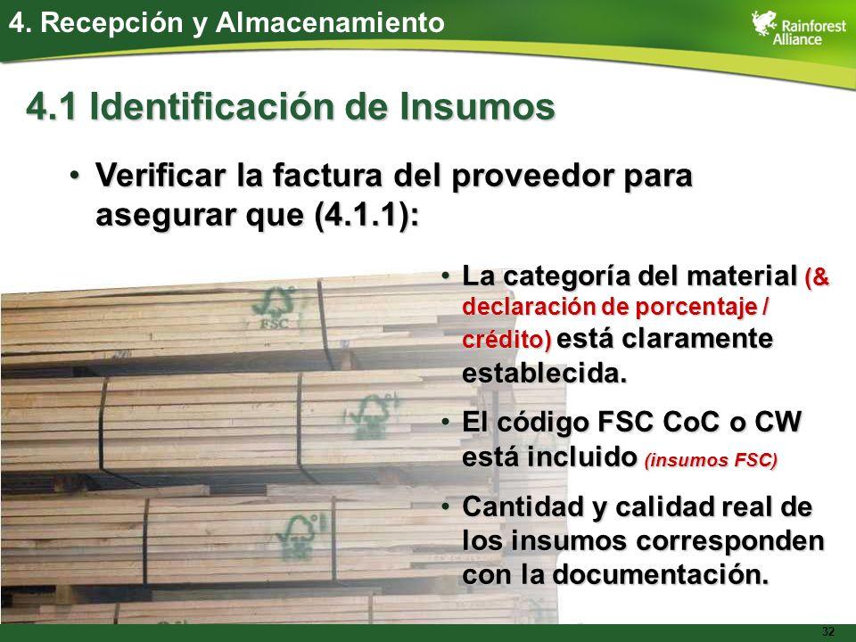 32 4. Recepción y Almacenamiento 4.1 Identificación de Insumos Verificar la factura del proveedor para asegurar que (4.1.1):Verificar la factura del p