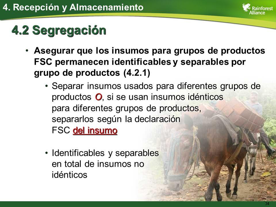 34 4.2 Segregación Asegurar que los insumos para grupos de productos FSC permanecen identificables y separables por grupo de productos (4.2.1)Asegurar