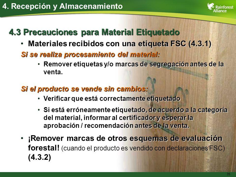 35 4.3 Precauciones para Material Etiquetado Materiales recibidos con una etiqueta FSC (4.3.1)Materiales recibidos con una etiqueta FSC (4.3.1) Si se