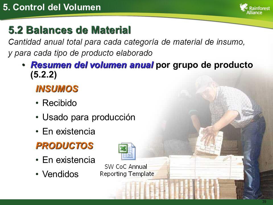 39 5.2 Balances de Material Cantidad anual total para cada categoría de material de insumo, y para cada tipo de producto elaborado Resumen del volumen