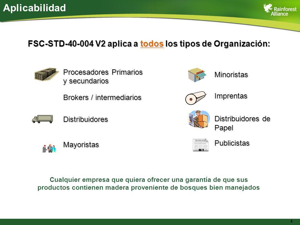4 Aplicabilidad FSC-STD-40-004 V2 aplica a todos los tipos de Organización: Procesadores Primarios y secundarios Brokers / intermediarios Distribuidor