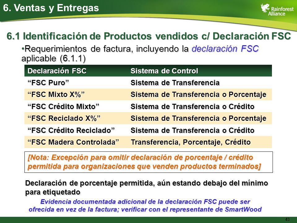 43 6. Ventas y Entregas 6.1 Identificación de Productos vendidos c/ Declaración FSC Requerimientos de factura, incluyendo la declaración FSC aplicable