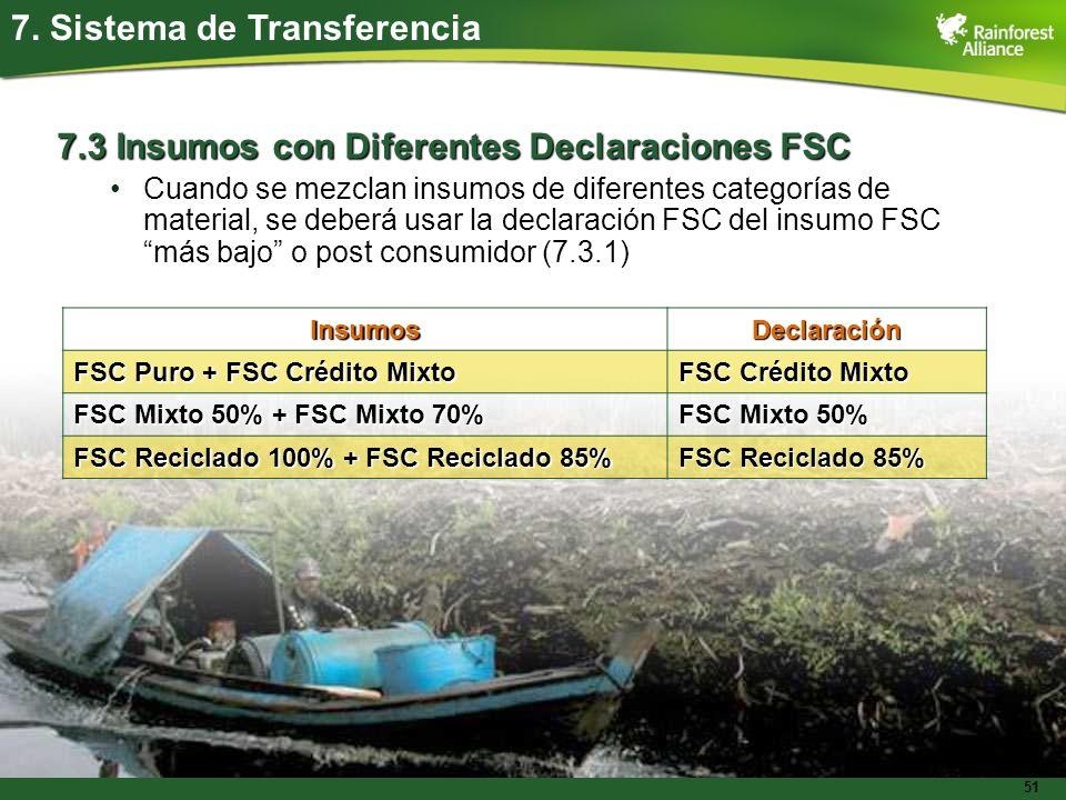 51 7.3 Insumos con Diferentes Declaraciones FSC Cuando se mezclan insumos de diferentes categorías de material, se deberá usar la declaración FSC del