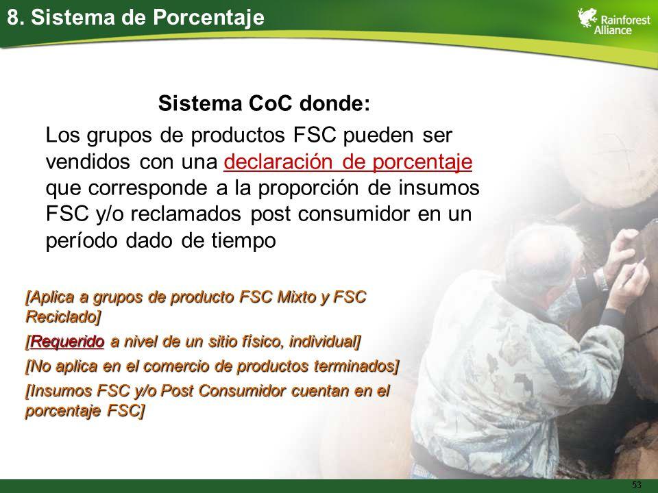 53 8. Sistema de Porcentaje Sistema CoC donde: Los grupos de productos FSC pueden ser vendidos con una declaración de porcentaje que corresponde a la