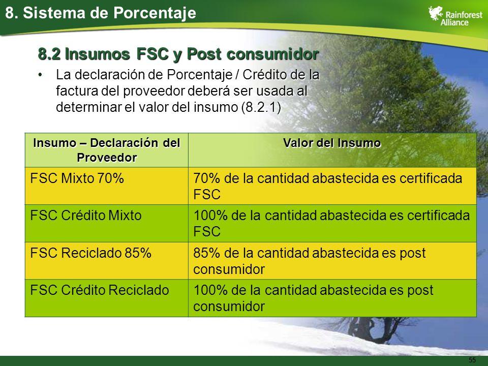 55 8. Sistema de Porcentaje 8.2 Insumos FSC y Post consumidor La declaración de Porcentaje / Crédito de la factura del proveedor deberá ser usada al d