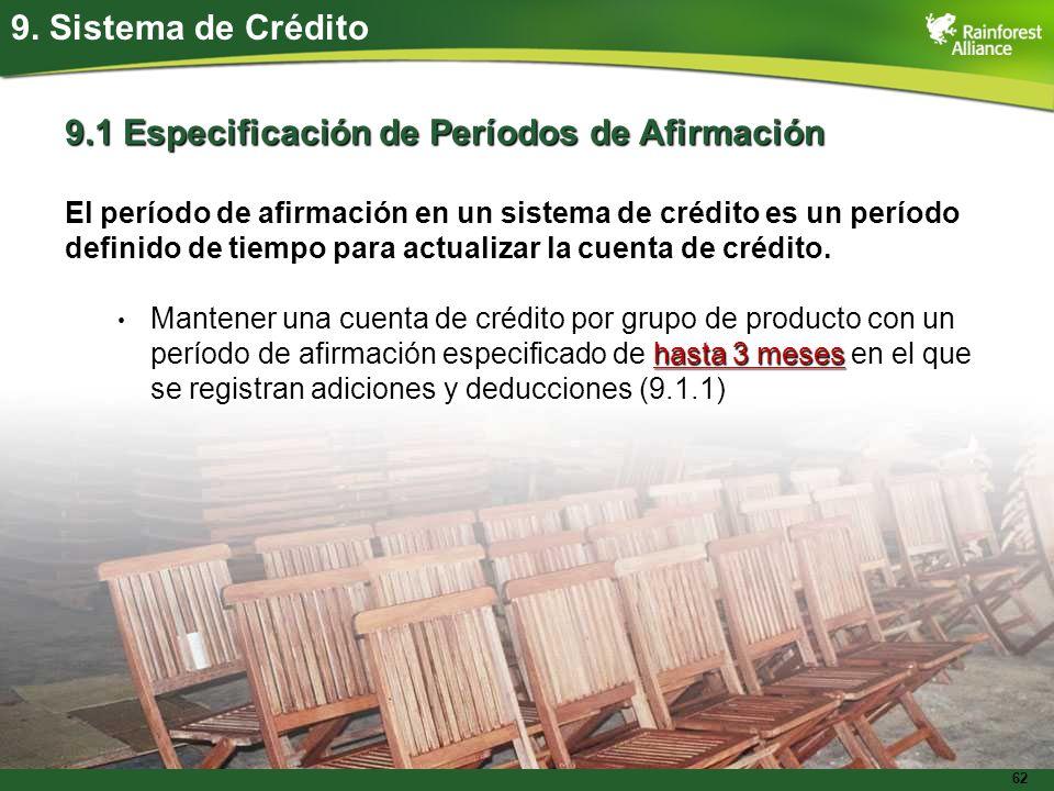 62 9. Sistema de Crédito 9.1 Especificación de Períodos de Afirmación El período de afirmación en un sistema de crédito es un período definido de tiem