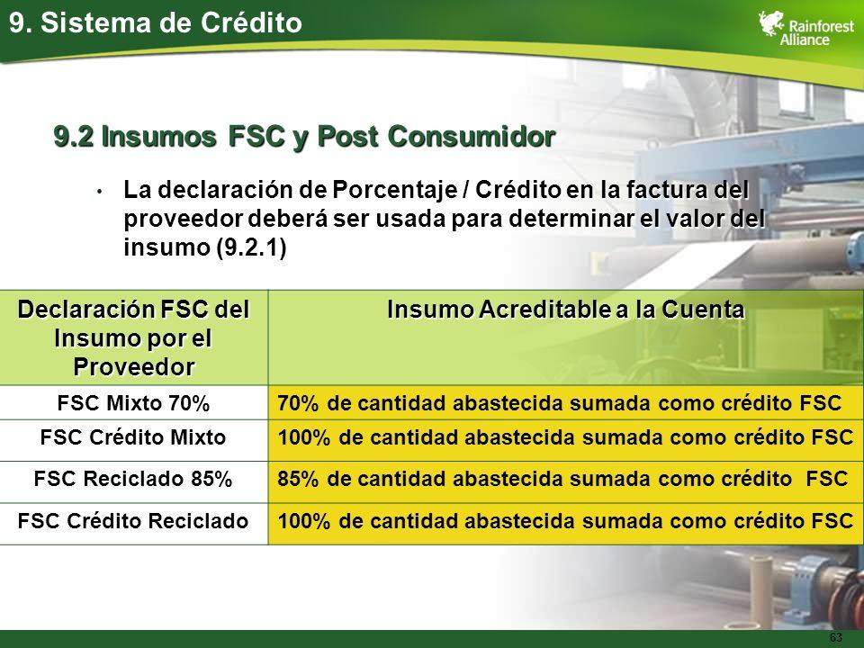 63 9. Sistema de Crédito 9.2 Insumos FSC y Post Consumidor La declaración de Porcentaje / Crédito en la factura del proveedor deberá ser usada para de