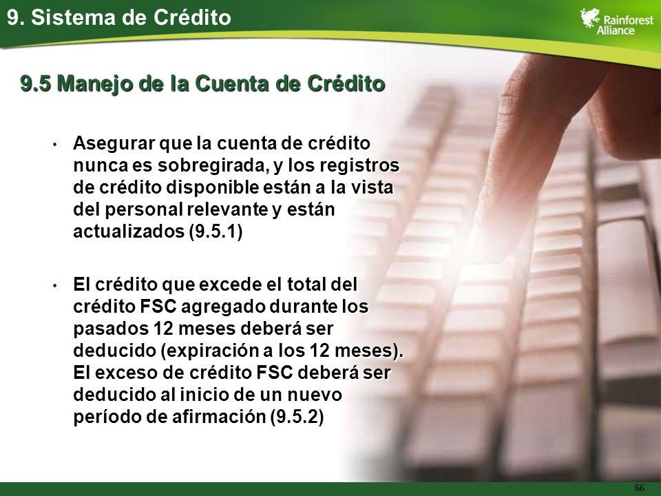 66 9. Sistema de Crédito 9.5 Manejo de la Cuenta de Crédito Asegurar que la cuenta de crédito nunca es sobregirada, y los registros de crédito disponi