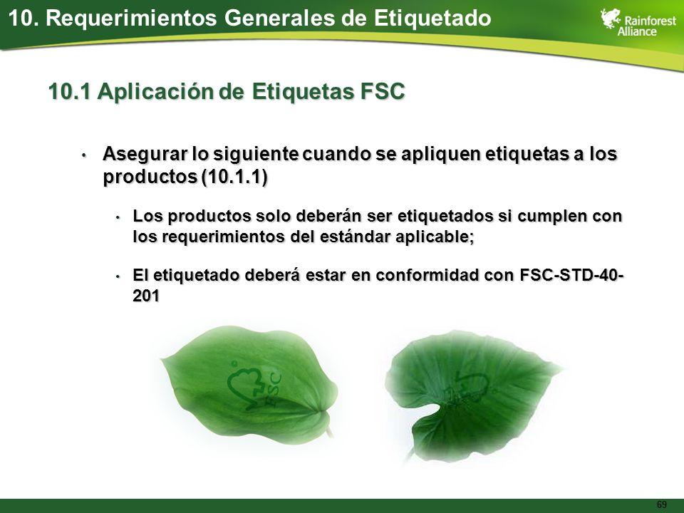 69 10.1 Aplicación de Etiquetas FSC Asegurar lo siguiente cuando se apliquen etiquetas a los productos (10.1.1) Asegurar lo siguiente cuando se apliqu