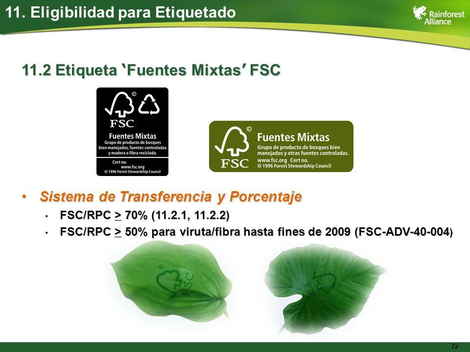 72 11. Eligibilidad para Etiquetado 11.2 Etiqueta Fuentes Mixtas FSC Sistema de Transferencia y PorcentajeSistema de Transferencia y Porcentaje FSC/RP