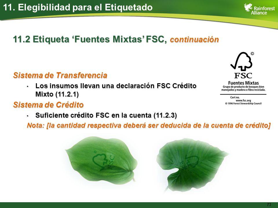 73 11. Elegibilidad para el Etiquetado 11.2 Etiqueta Fuentes Mixtas FSC, continuación Sistema de Transferencia Los insumos llevan una declaración FSC