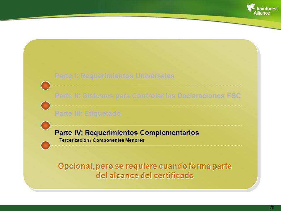 76 Parte I: Requerimientos Universales Parte II: Sistemas para Controlar las Declaraciones FSC Parte III: Etiquetado Parte IV: Requerimientos Compleme