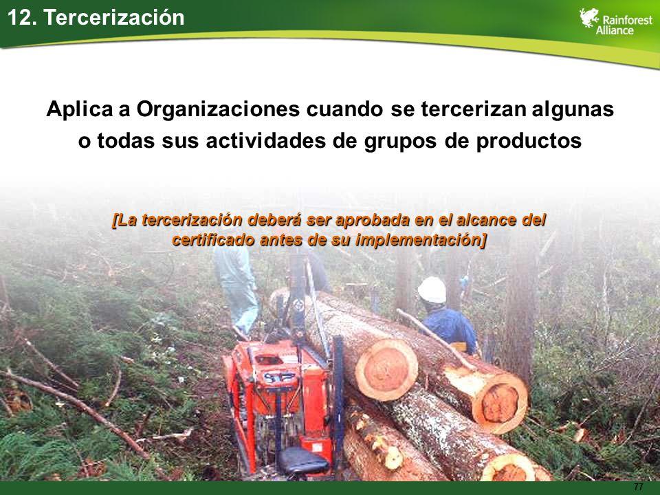 77 12. Tercerización Aplica a Organizaciones cuando se tercerizan algunas o todas sus actividades de grupos de productos [La tercerización deberá ser