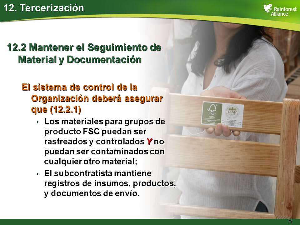 79 12. Tercerización 12.2 Mantener el Seguimiento de Material y Documentación El sistema de control de la Organización deberá asegurar que (12.2.1) Lo