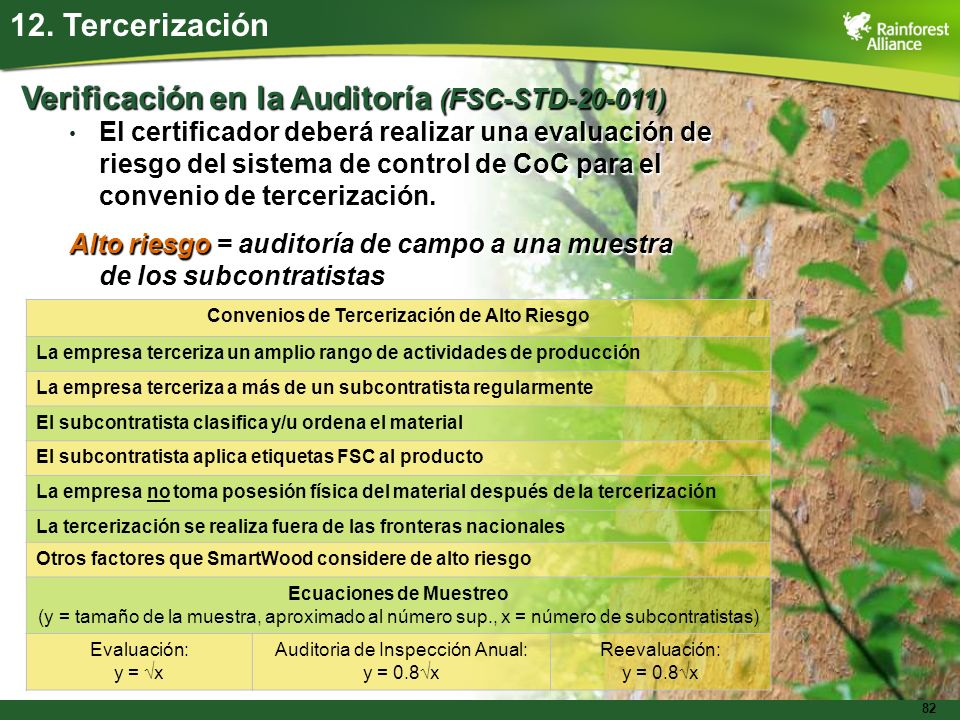 82 12. Tercerización Verificación en la Auditoría (FSC-STD-20-011) El certificador deberá realizar una evaluación de riesgo del sistema de control de