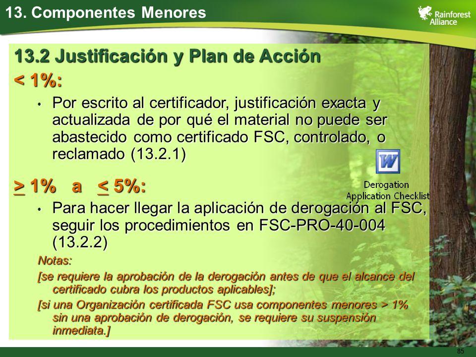 85 13. Componentes Menores 13.2 Justificación y Plan de Acción < 1%: Por escrito al certificador, justificación exacta y actualizada de por qué el mat