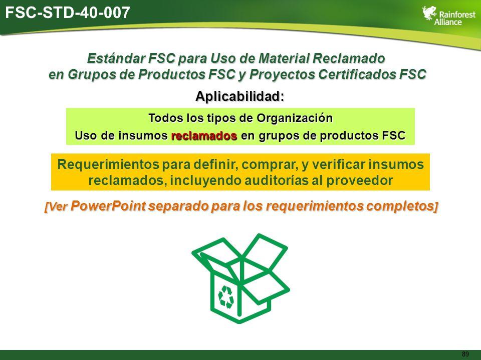 89 Estándar FSC para Uso de Material Reclamado en Grupos de Productos FSC y Proyectos Certificados FSC Aplicabilidad: Todos los tipos de Organización
