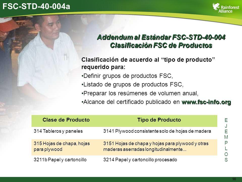 90 FSC-STD-40-004a Addendum al Estándar FSC-STD-40-004 Clasificación FSC de Productos Clasificación de acuerdo al tipo de producto requerido para: Def