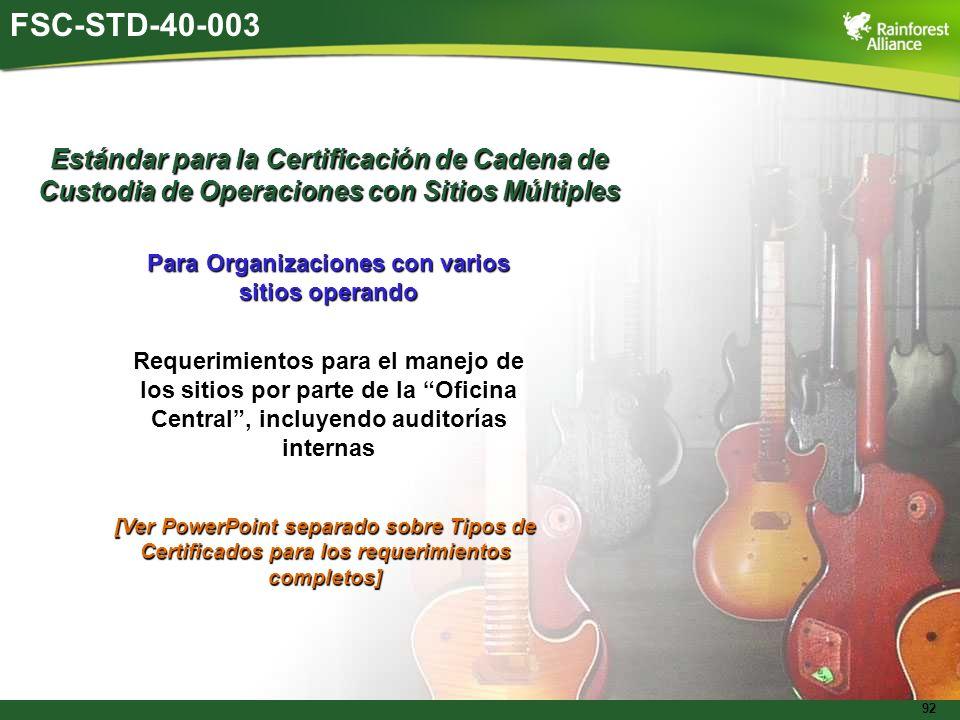 92 FSC-STD-40-003 Estándar para la Certificación de Cadena de Custodia de Operaciones con Sitios Múltiples Para Organizaciones con varios sitios opera