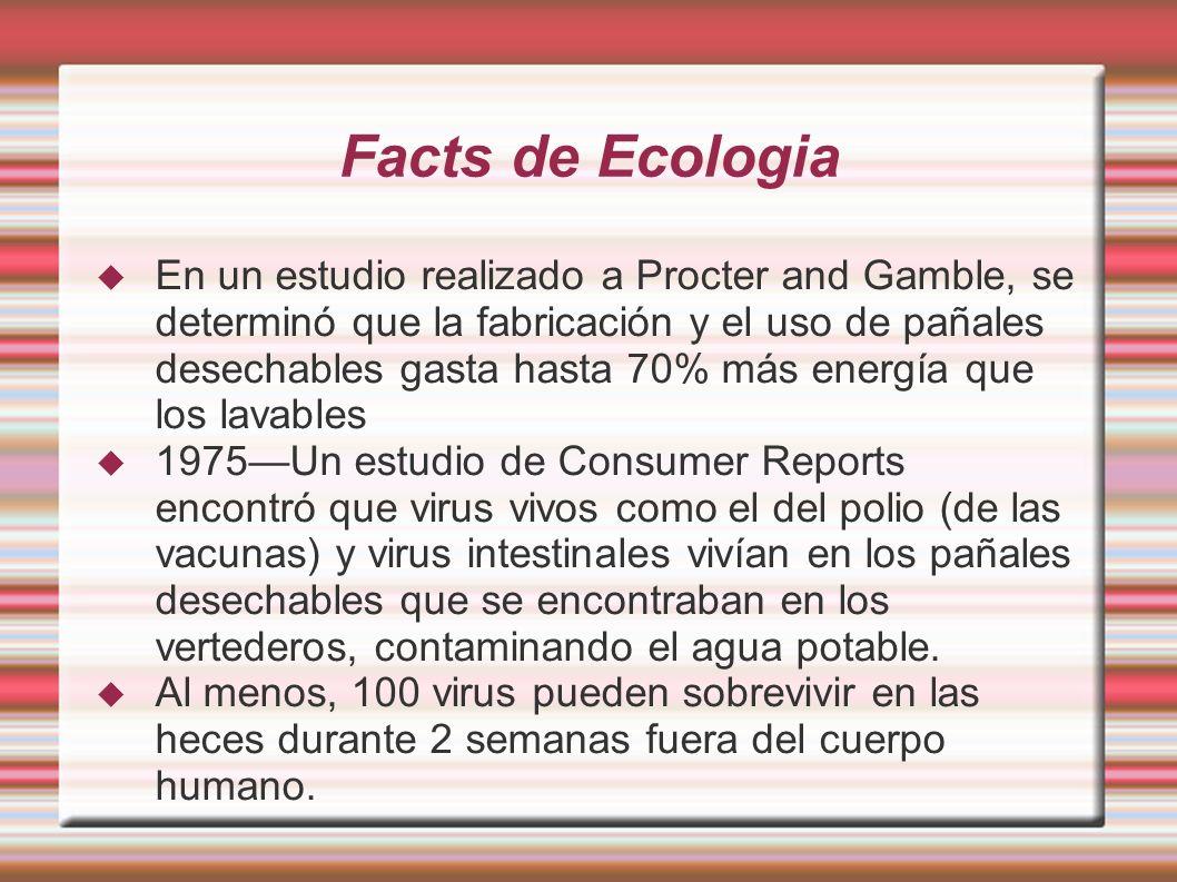 Facts de Ecologia En un estudio realizado a Procter and Gamble, se determinó que la fabricación y el uso de pañales desechables gasta hasta 70% más en