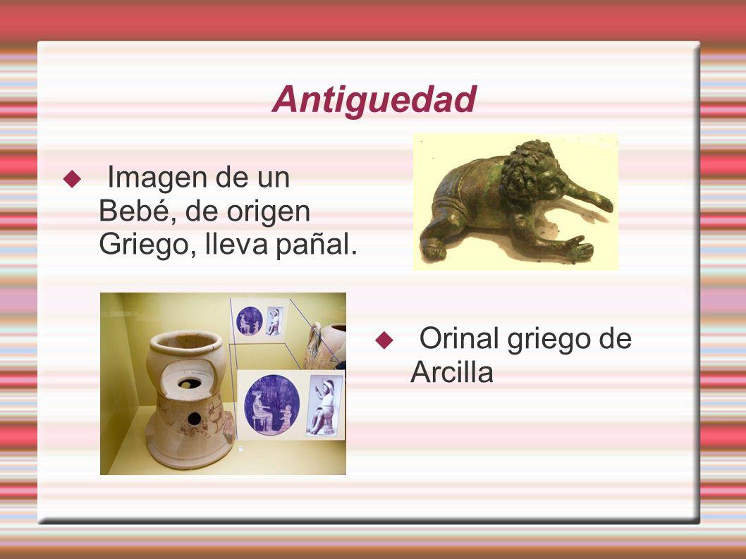 Antiguedad Imagen de un Bebé, de origen Griego, lleva pañal. Orinal griego de Arcilla