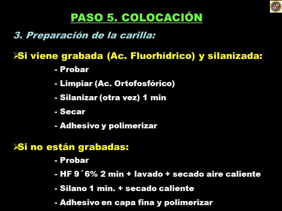 3. Preparación de la carilla: Si viene grabada (Ac. Fluorhídrico) y silanizada: - Probar - Limpiar (Ac. Ortofosfórico) - Silanizar (otra vez) 1 min -