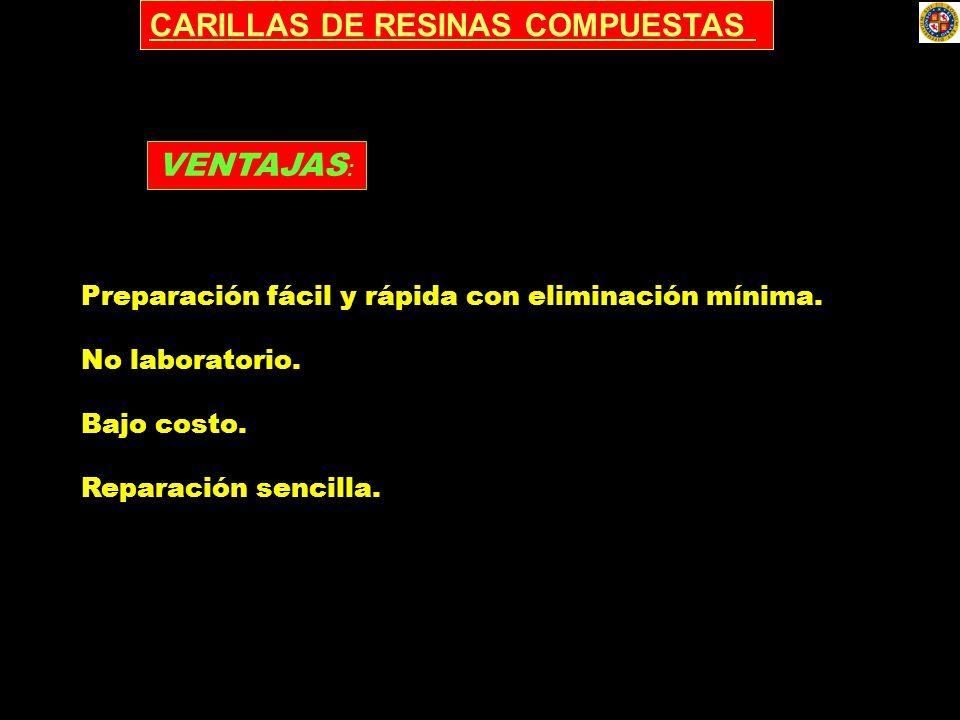 CARILLAS DE RESINAS COMPUESTAS Preparación fácil y rápida con eliminación mínima. No laboratorio. Bajo costo. Reparación sencilla. VENTAJAS :
