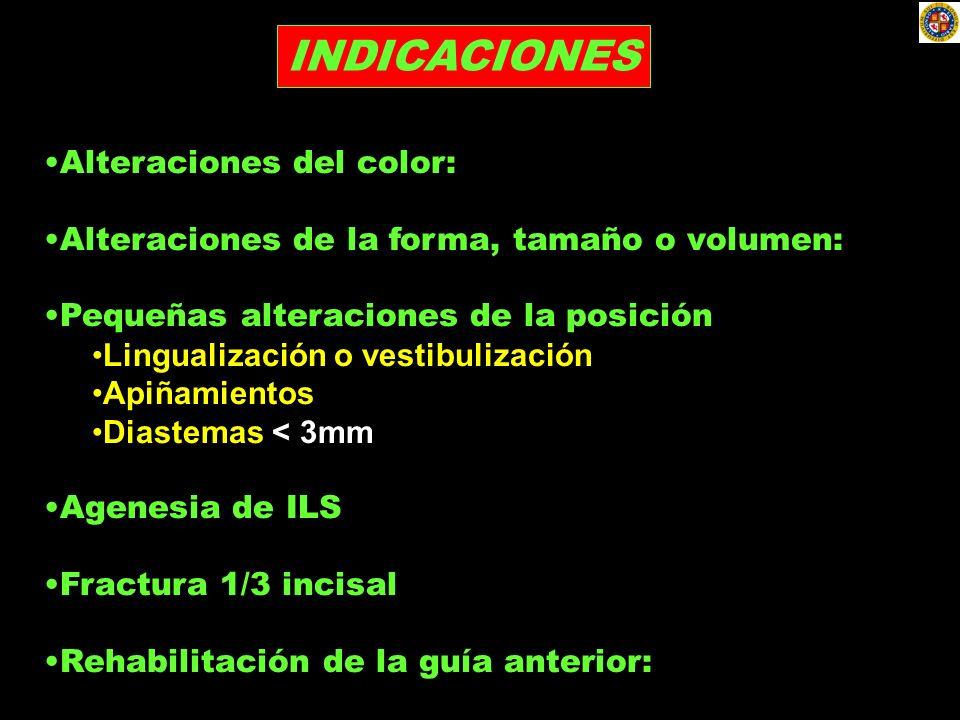 INDICACIONES Alteraciones del color: Alteraciones de la forma, tamaño o volumen: Pequeñas alteraciones de la posición Lingualización o vestibulización