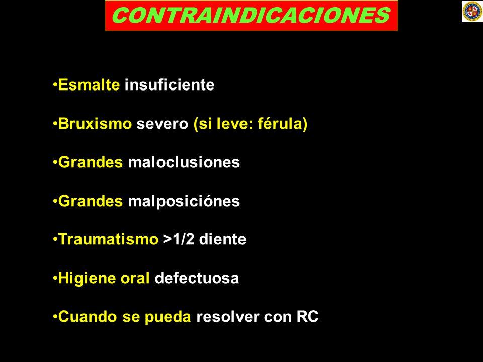CONTRAINDICACIONES Esmalte insuficiente Bruxismo severo (si leve: férula) Grandes maloclusiones Grandes malposiciónes Traumatismo >1/2 diente Higiene
