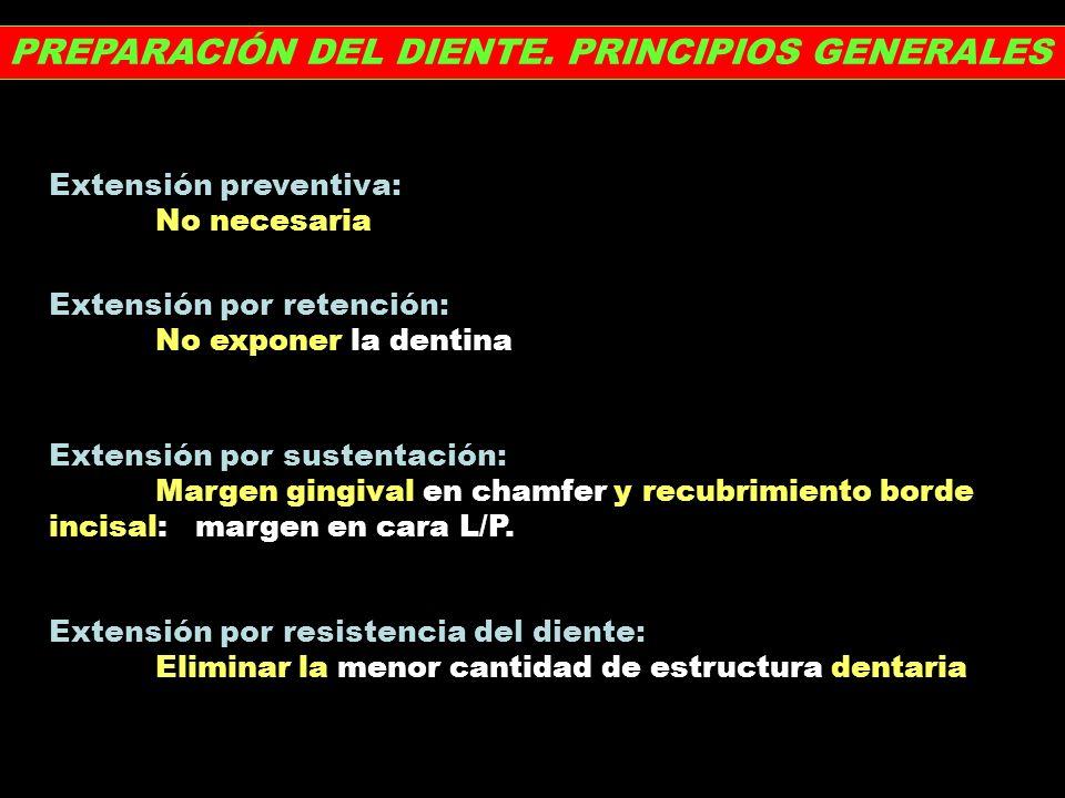 PREPARACIÓN DEL DIENTE. PRINCIPIOS GENERALES Extensión preventiva: No necesaria Extensión por retención: No exponer la dentina Extensión por sustentac