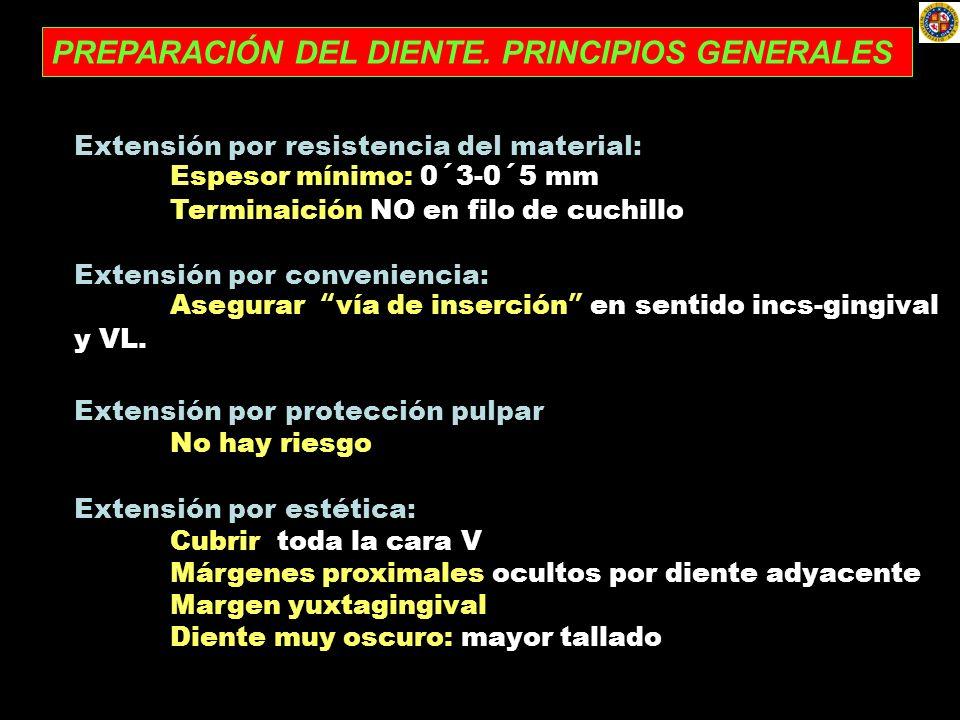 PREPARACIÓN DEL DIENTE. PRINCIPIOS GENERALES Extensión por resistencia del material: Espesor mínimo: 0´3-0´5 mm Terminaición NO en filo de cuchillo Ex