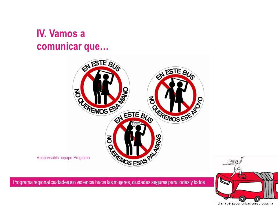 Programa regional ciudades sin violencia hacia las mujeres, ciudades seguras para todas y todos diana pérez comunicaciones progra,ma V.