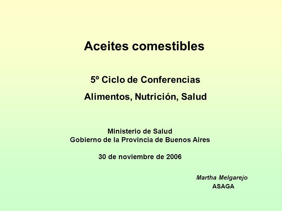 ACEITETon aceiteTon pellets Soja5.800.00024.300.000 Girasol1.650.0001.500.000 Maní48.00060.000 fuente: SAGPyA y JJh anuario 2005 Cosecha 2005/6 Aceite de oliva 20.000 Tn/año estimado 2007