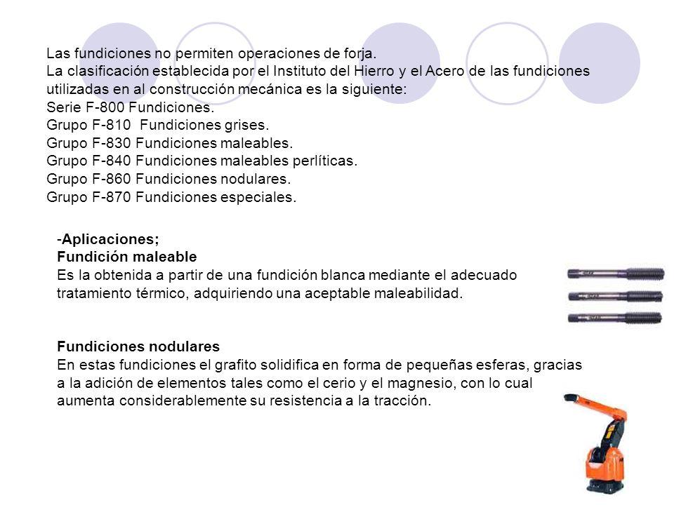 La clasificación establecida por el Instituto del Hierro y el Acero de las fundiciones utilizadas en al construcción mecánica es la siguiente: Serie F