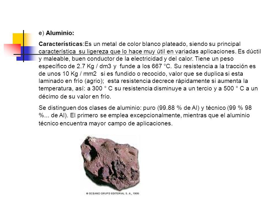 Aluminio: e) Aluminio: Características:Es un metal de color blanco plateado, siendo su principal característica su ligereza que lo hace muy útil en va