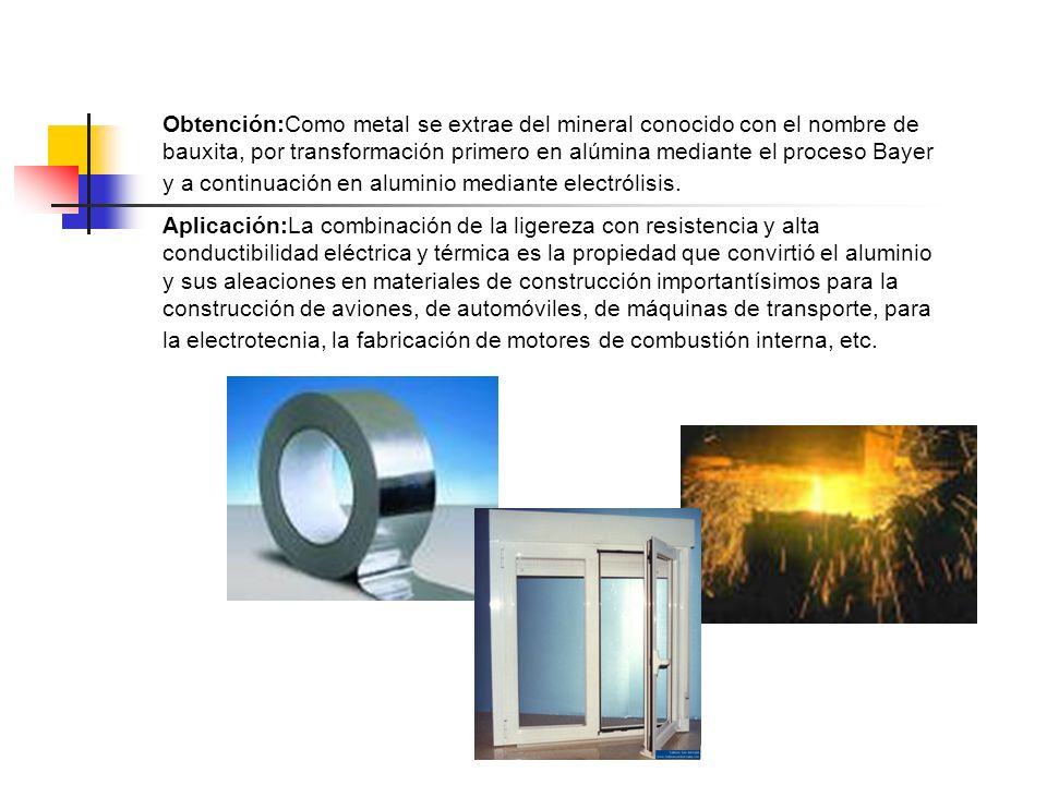 Obtención:Como metal se extrae del mineral conocido con el nombre de bauxita, por transformación primero en alúmina mediante el proceso Bayer y a cont