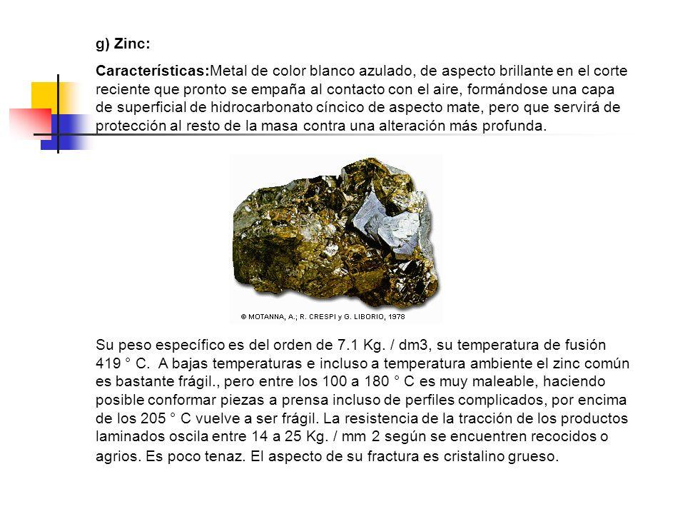 g) Zinc: Características:Metal de color blanco azulado, de aspecto brillante en el corte reciente que pronto se empaña al contacto con el aire, formán