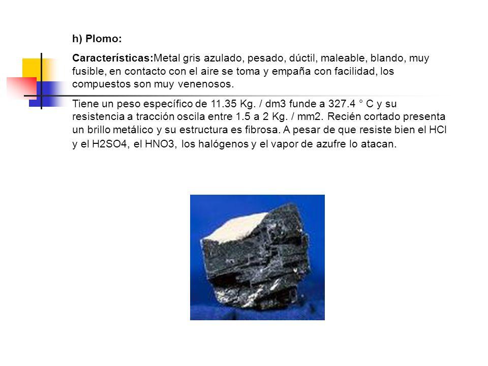 h) Plomo: Características:Metal gris azulado, pesado, dúctil, maleable, blando, muy fusible, en contacto con el aire se toma y empaña con facilidad, l