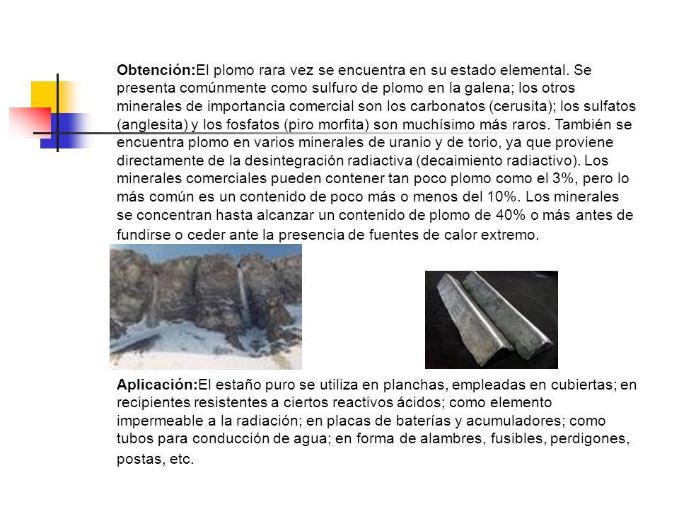 Obtención:El plomo rara vez se encuentra en su estado elemental. Se presenta comúnmente como sulfuro de plomo en la galena; los otros minerales de imp