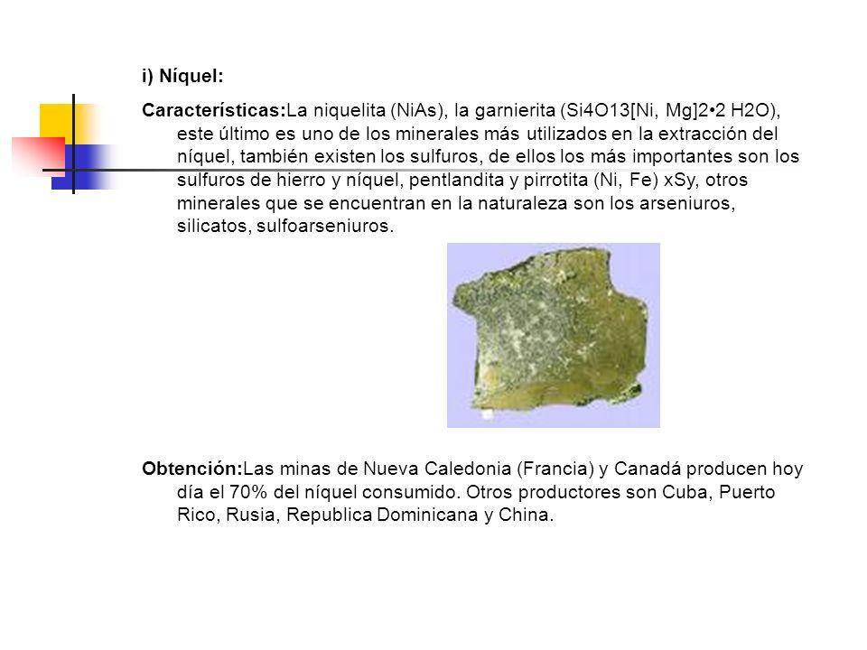 i) Níquel: Características:La niquelita (NiAs), la garnierita (Si4O13[Ni, Mg]22 H2O), este último es uno de los minerales más utilizados en la extracc