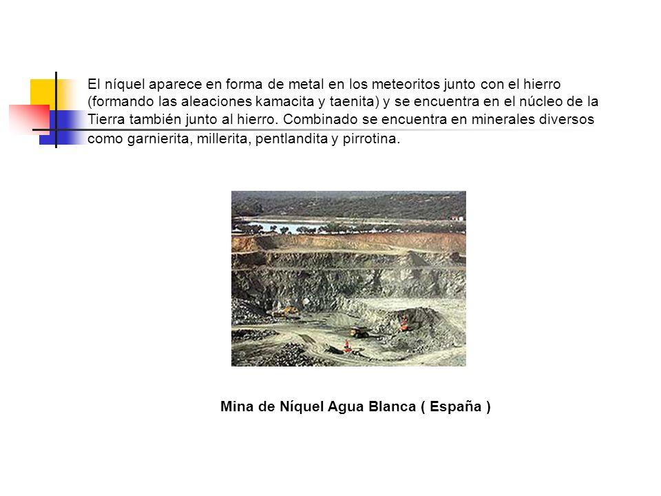 El níquel aparece en forma de metal en los meteoritos junto con el hierro (formando las aleaciones kamacita y taenita) y se encuentra en el núcleo de