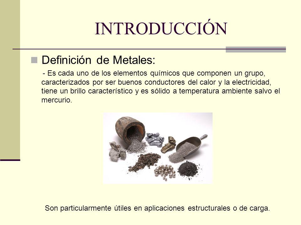 INTRODUCCIÓN Definición de Metales: - Es cada uno de los elementos químicos que componen un grupo, caracterizados por ser buenos conductores del calor