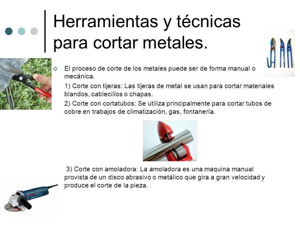 Herramientas y técnicas para cortar metales. El proceso de corte de los metales puede ser de forma manual o mecánica. 1) Corte con tijeras: Las tijera